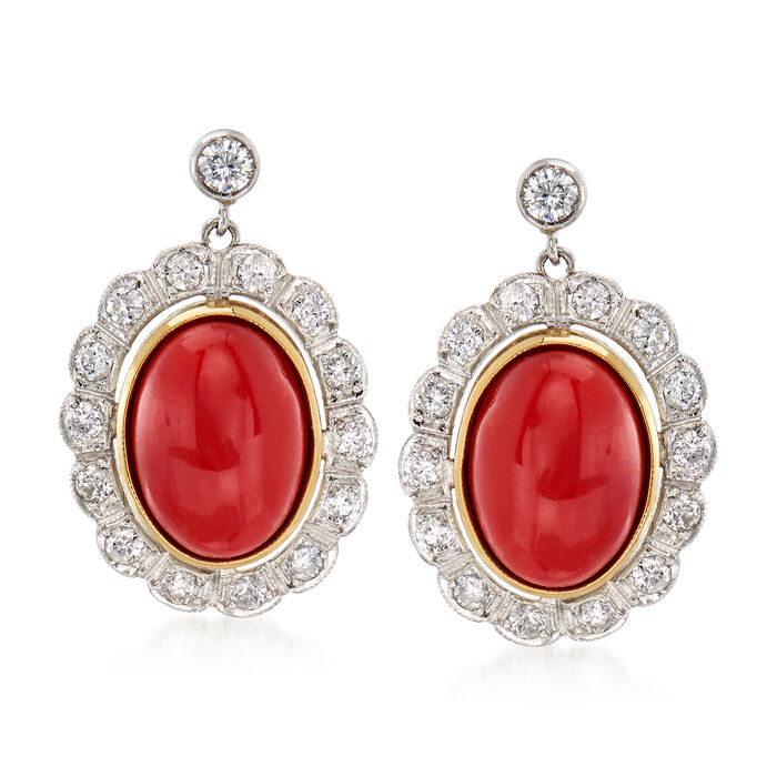 C. 1970 Vintage Coral and 1.00 ct. t.w. Diamond Earrings in 18kt Yellow Gold and Platinum
