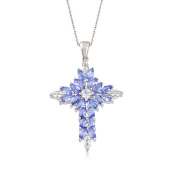"""2.20 ct. t.w. Tanzanite and .70 ct. t.w. White Topaz Cross Pendant Necklace in Sterling Silver. 18"""", , default"""