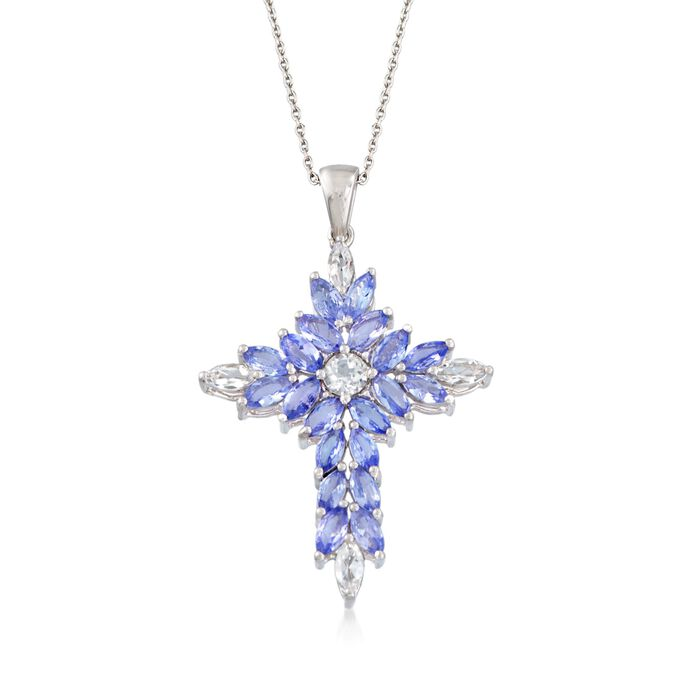 "2.20 ct. t.w. Tanzanite and .70 ct. t.w. White Topaz Cross Pendant Necklace in Sterling Silver. 18"", , default"