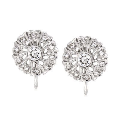 C. 1960 Vintage 1.00 ct. t.w. Diamond Flower Earrings in 14kt White Gold, , default