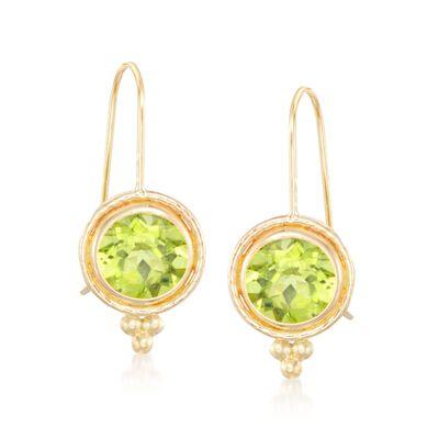 1.70 ct. t.w. Peridot Drop Earrings in 14kt Yellow Gold, , default
