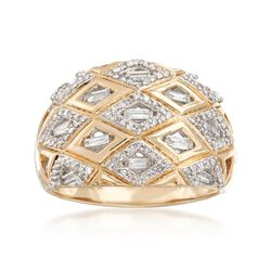 .50 ct. t.w. Baguette and Round Diamond Patterned Ring in 14kt Yellow Gold, , default