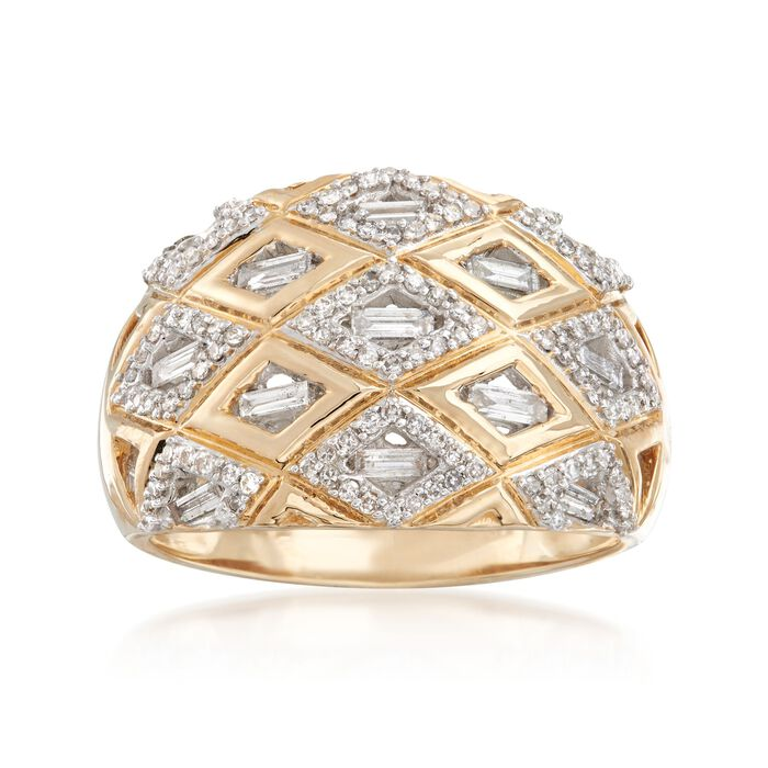 .50 ct. t.w. Baguette and Round Diamond Patterned Ring in 14kt Yellow Gold. Size 5, , default