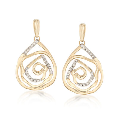 .14 ct. t.w. Diamond Teardrop Earrings in 14kt Yellow Gold, , default