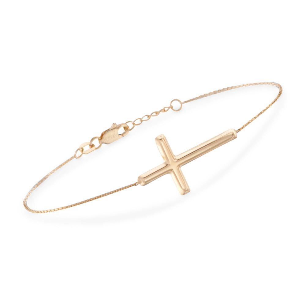 14kt Yellow Gold Sideways Cross Bracelet 8