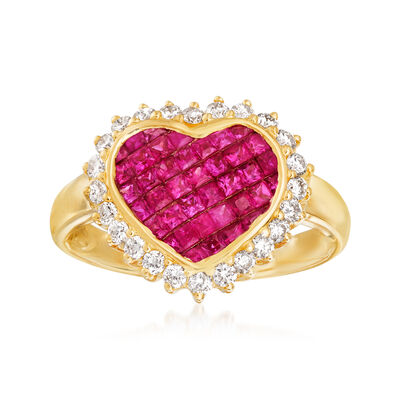 .90 ct. t.w. Ruby and .38 ct. t.w. Diamond Ring in 18kt Yellow Gold