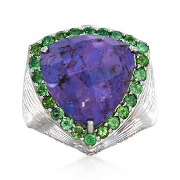 Purple Turquoise and .90 ct. t.w. Chrome Diopside Ring in Sterling Silver, , default