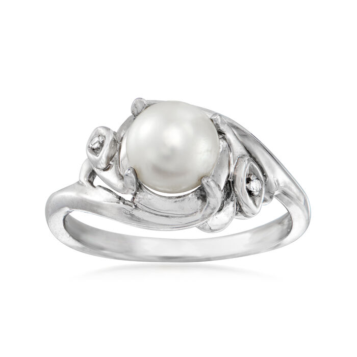C. 1990 Vintage 6.5mm Cultured Pearl Ring with Diamond Accent in 14kt White Gold. Size 6, , default