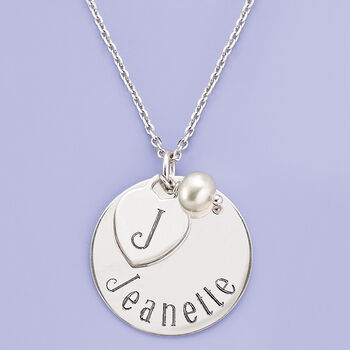 "Italian Sterling Silver Personalized Charm Necklace with 6mm Cultured Pearl. 18"", , default"
