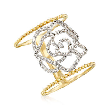 .40 ct. t.w. Diamond Openwork Floral Ring in 14kt Two-Tone Gold, , default