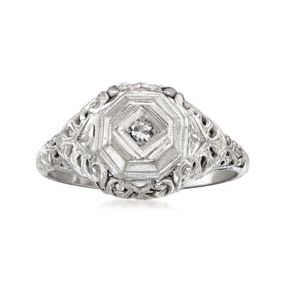 C. 1930 Vintage 18kt White Gold Filgree Ring with Diamond Accent, , default