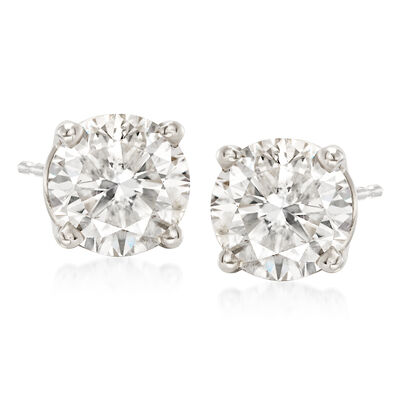 3.00 ct. t.w. CZ Stud Earrings in 14kt White Gold