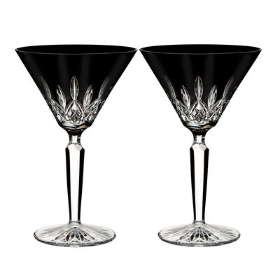 "Waterford Crystal ""Black"" Set of 2 Lismore Martini Glasses"