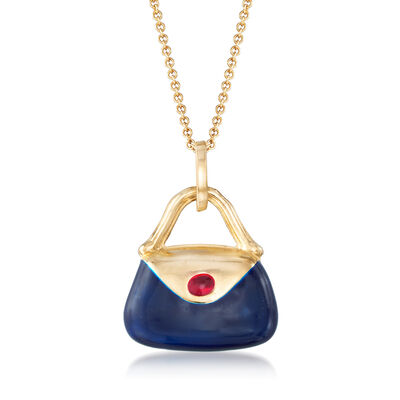 C. 2000 Vintage Multicolored Enamel Purse Pendant Necklace in 14kt Yellow Gold, , default
