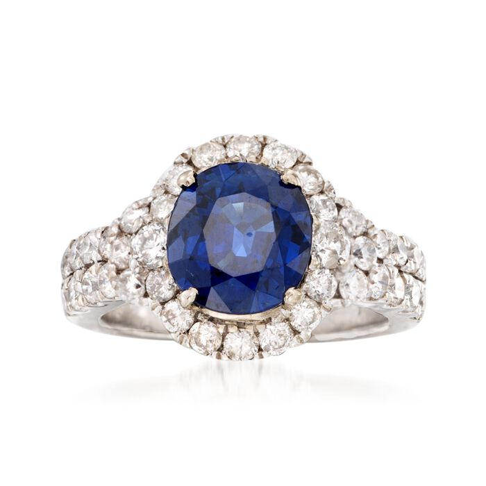C. 1980 Vintage 2.64 Carat Sapphire and 1.25 ct. t.w. Diamond Ring in 14kt White Gold. Size 4.75