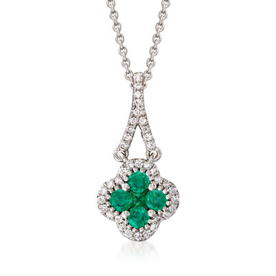 Gregg Ruth .37 ct. t.w. Emerald and .12 ct. t.w. Diamond Necklace in 18kt White Gold, , default