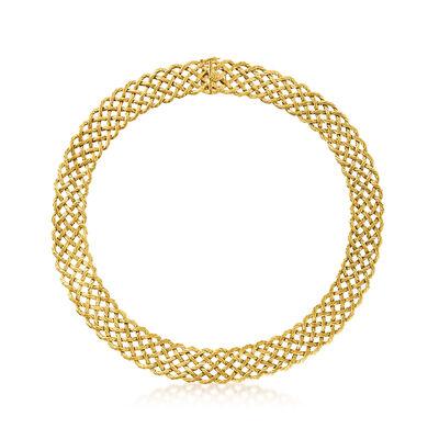 C. 1980 Vintage Buccellati 18kt Yellow Gold Basketweave Collar Necklace