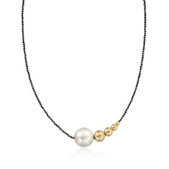 16-17mm Cultured Pearl and 14kt Yellow Gold Graduated Bead Necklace With Black Spinel Beads, , default