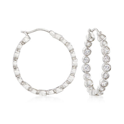 3.00 ct. t.w. Bezel-Set CZ Inside-Outside Hoop Earrings in Sterling Silver, , default