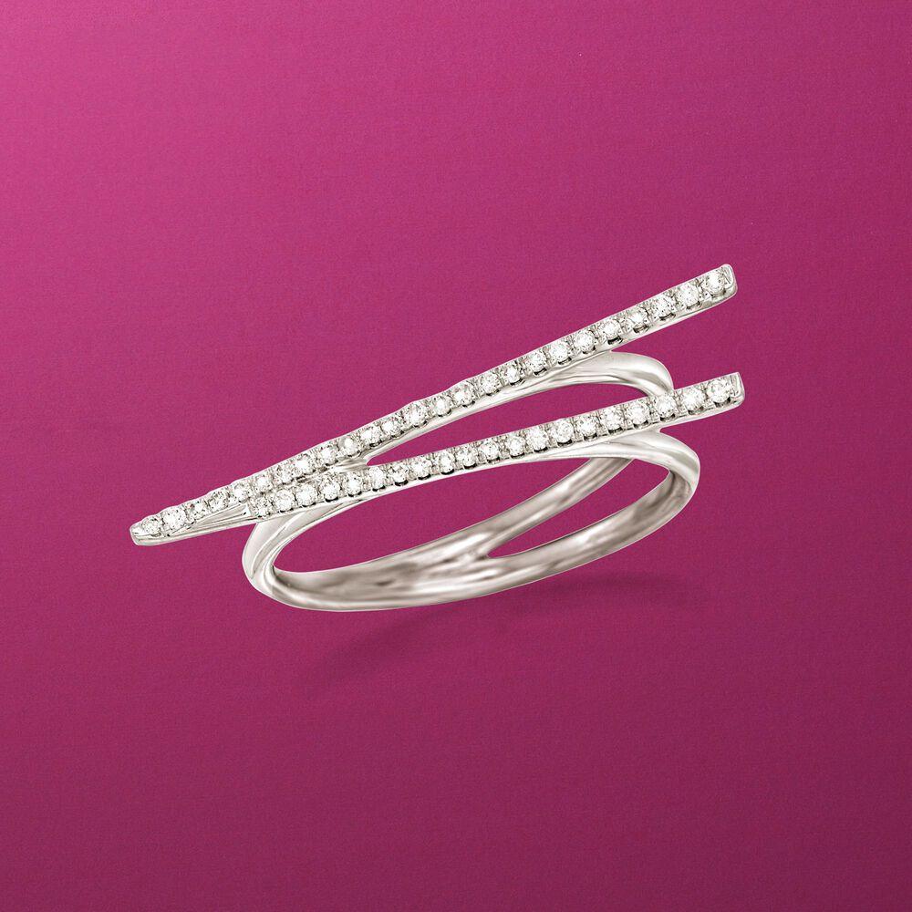 16 ct. t.w. Diamond Chopsticks Ring in 14kt White Gold | Ross Simons