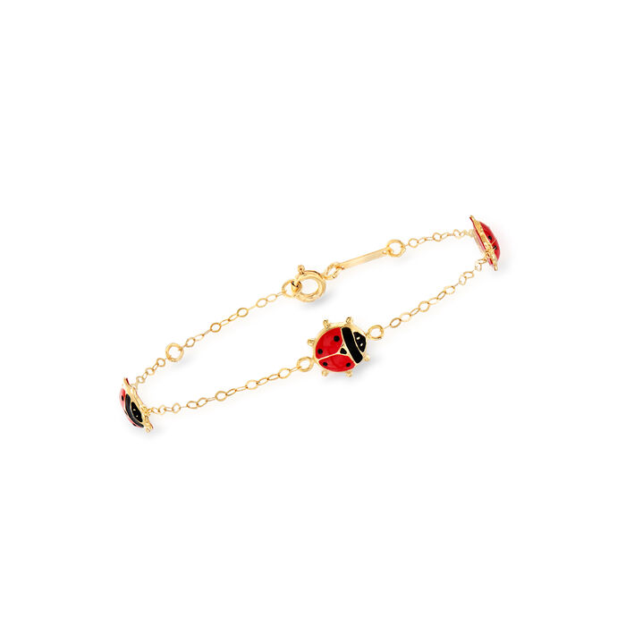 Italian Child's 18kt Yellow Gold Station Ladybug Bracelet with Red and Black Enamel