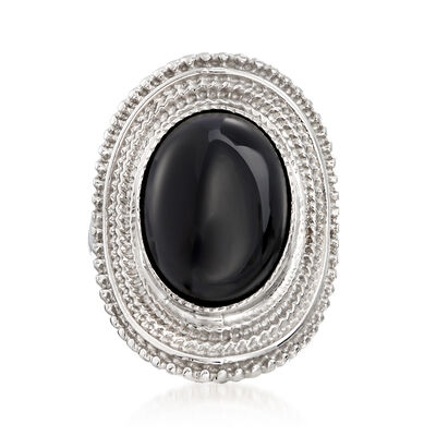 Italian Black Onyx Ring in Sterling Silver, , default