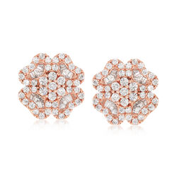 5.10 ct. t.w. CZ Floral Earrings in 14kt Rose Gold Over Sterling , , default