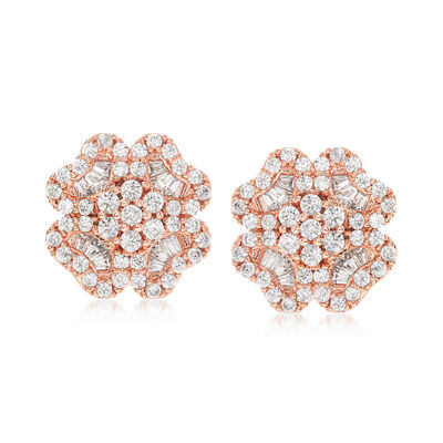 5.10 ct. t.w. CZ Floral Earrings in 14kt Rose Gold Over Sterling, , default