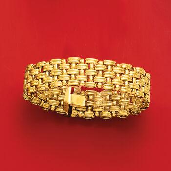 Italian 14kt Yellow Gold Basketweave Bracelet, , default