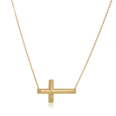 14kt Yellow Gold East-West Sideways Cross Necklace, , default