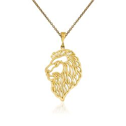 "14kt Yellow Gold Lions Head Pendant Necklace. 18"", , default"