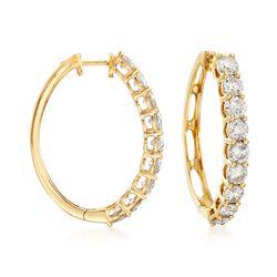 """3.00 ct. t.w. Diamond Hoop Earrings in 14kt Yellow Gold. 1"""", , default"""