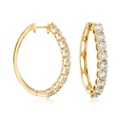 3.00 ct. t.w. Diamond Hoop Earrings in 14kt Yellow Gold, , default