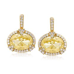 """Judith Ripka """"Monaco"""" Canary Yellow Crystal and .85 ct. t.w. Diamond Drop Earrings in 18kt Yellow Gold , , default"""