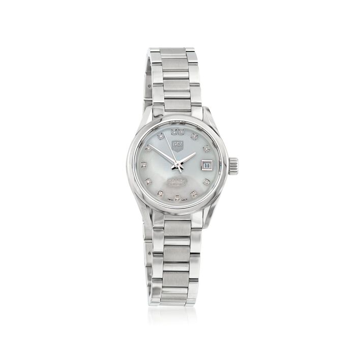 TAG Heuer Carrera 28mm Stainless Steel Watch with Diamonds - Mother-Of-Pearl Dial, , default