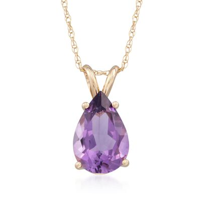 2.80 Carat Amethyst Pendant Necklace in 14kt Yellow Gold, , default