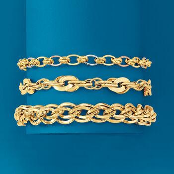 Italian Multi-Link Bracelet in 18kt Yellow Gold, , default