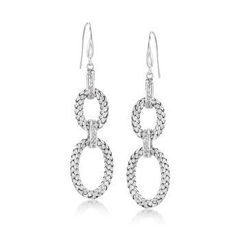 """Charles Garnier """"Fay"""" .25 ct. t.w. CZ Double Oval Drop Earrings in Sterling Silver , , default"""