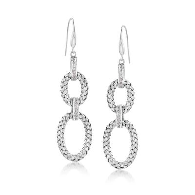 "Charles Garnier ""Fay"" .25 ct. t.w. CZ Double Oval Drop Earrings in Sterling Silver, , default"