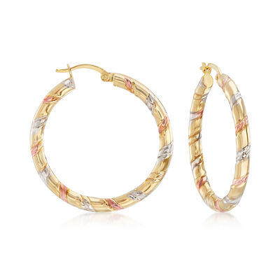 14kt Tri-Colored Gold Twisted Hoop Earrings, , default