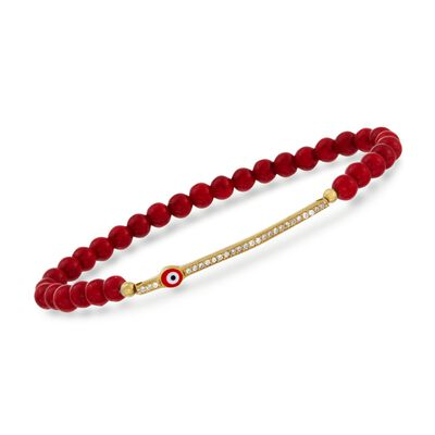 Coral and .20 ct. t.w. CZ Evil Eye Bracelet in 24kt Gold Over Sterling Silver, , default