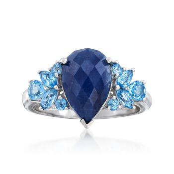 3.70 Carat Sapphire and 1.10 ct. t.w. Blue Topaz Ring in Sterling Silver, , default