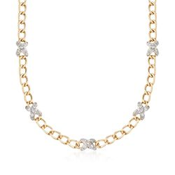 C. 1980 Vintage Hammerman Brothers 2.00 ct. t.w. Diamond X Curb Link Necklace in 14kt Yellow Gold, , default