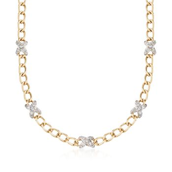 """C. 1980 Vintage Hammerman Brothers 2.00 ct. t.w. Diamond X Curb Link Necklace in 14kt Yellow Gold. 15.5"""", , default"""