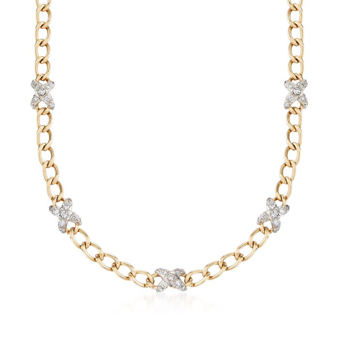"C. 1980 Vintage Hammerman Brothers 2.00 ct. t.w. Diamond X Curb Link Necklace in 14kt Yellow Gold. 15.5"", , default"