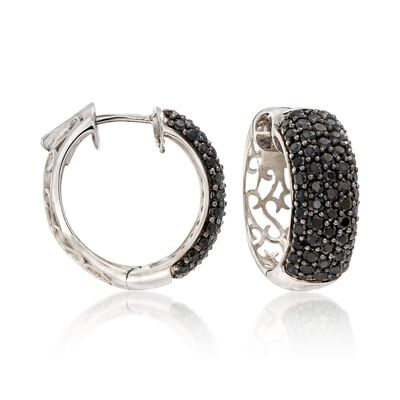 3.94 ct. t.w. Black Spinel Huggie Hoop Earrings in Sterling Silver, , default