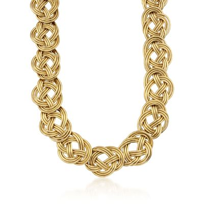 Italian Knot-Link Flex Statement Necklace With 14kt Yellow Gold, , default