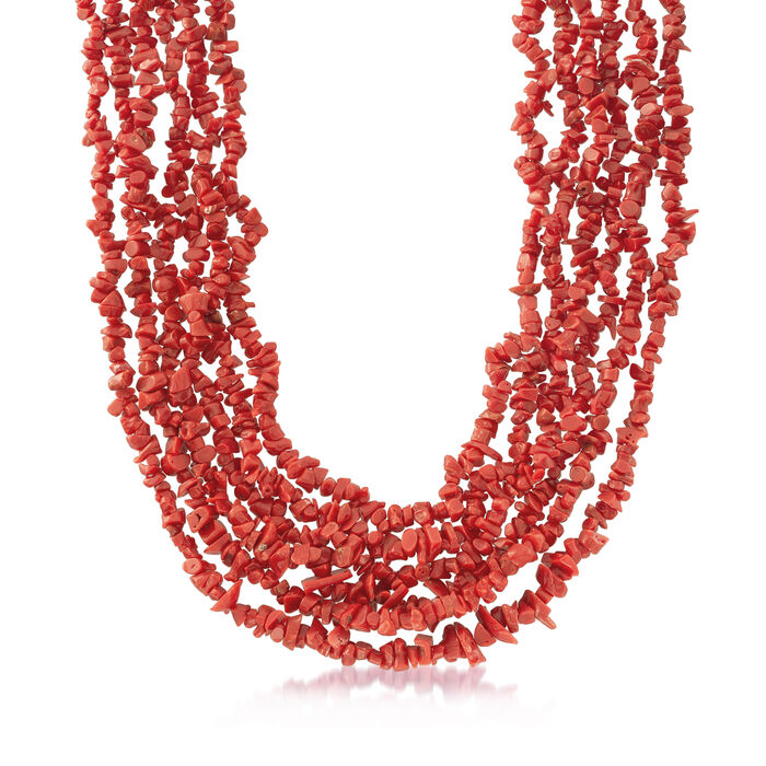 """Italian Coral Multi-Strand Necklace in Sterling Silver. 18"""", , default"""