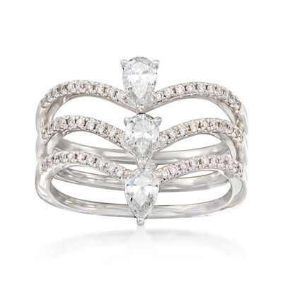 .79 ct. t.w. Diamond Triple-Row Ring in 18kt White Gold, , default