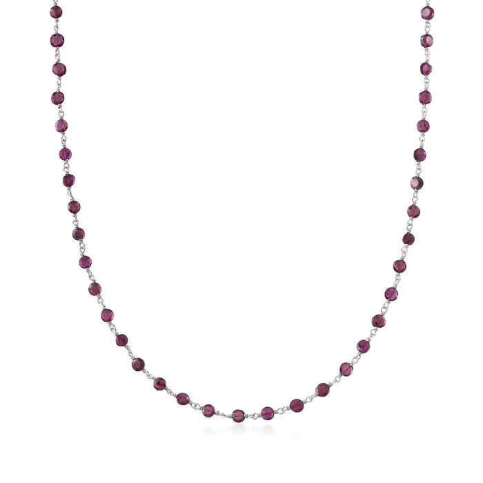 30.00 ct. t.w. Garnet Bead Station Necklace in Sterling Silver